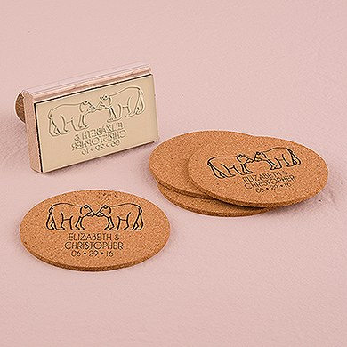 Woodland Style Bears Personalized Rubber Stamp