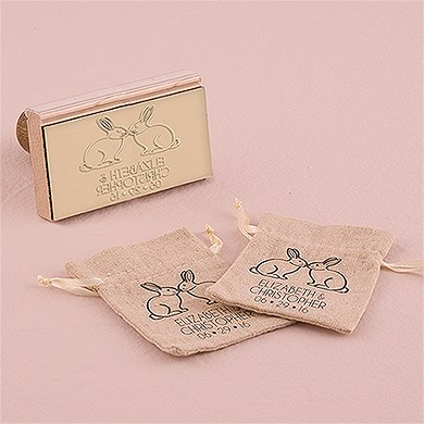 Woodland Style Rabbits Personalized Rubber Stamp
