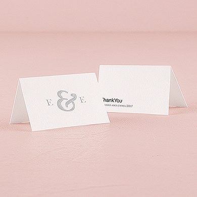 Monogram Simplicity Place Card With Fold   Simple Ampersand