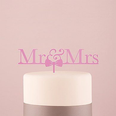 Mr & Mrs Bow Tie Acrylic Cake Topper   Dark Pink