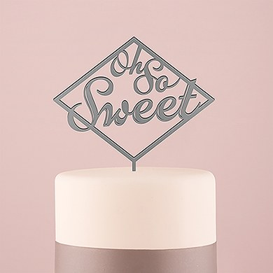 Oh So Sweet Acrylic Cake Topper   Metallic Silver