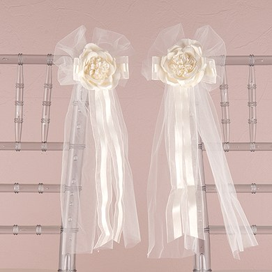 Premade Tulle and Ribbon Wedding Reception Bows with Silk Rose