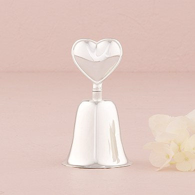 Silver Plated Heart Wedding Ceremony Handled Bell