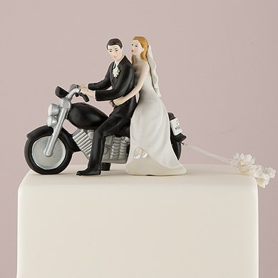 Motorcycle Get away Wedding cake topper Couple Figurine