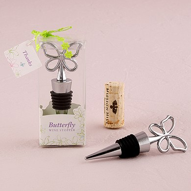 Butterfly Wedding Wine Bottle Stopper Favor in Gift Packaging
