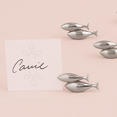 Double Fish Wedding Place Card Holders with Brushed Silver Finish