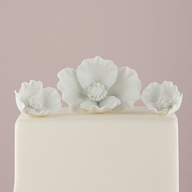 White Porcelain Bisque Poppy Blooms Figurine