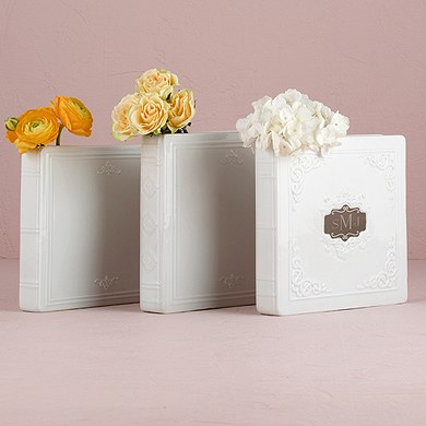 Porcelain Book Vases with Glazed Finish