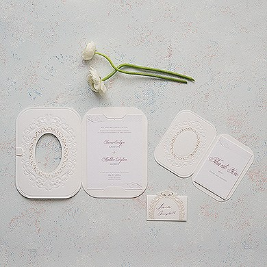 Pearls and Lace Laser Embossed Invitations with Personalization