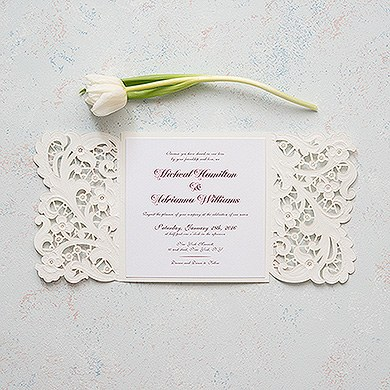 Lace Opulence Laser Embossed Invitations with Personalization