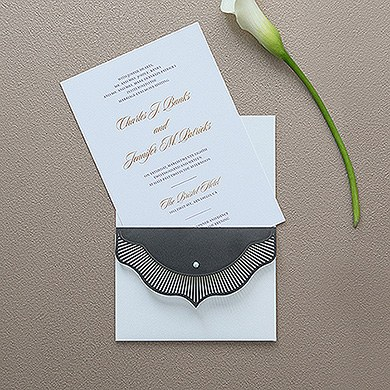High Style in Black with Crystal Laser Embossed Invitations with Personalization