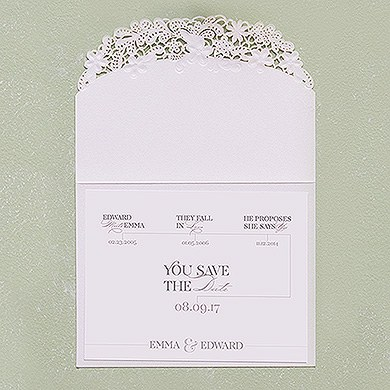 Floral Elegance Laser Embossed Save The Date / RSVP / Thank You Cards with Classic Script Personalization