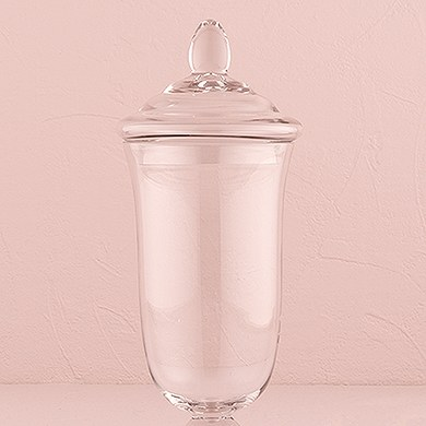 Decorative Apothecary Jar in Clear Glass   Bell Shaped Bowl on Pedestal with Lid