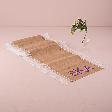 Burlap And Lace Table Runner   Geo Monogram Print
