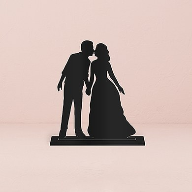 With a Kiss Silhouette  Acrylic Cake Topper   Black