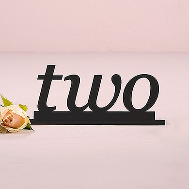 Black Acrylic Table Number   Word Style