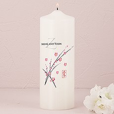Cherry Blossom Personalized Pillar Candles
