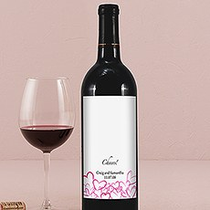 Contemporary Hearts Wine Label