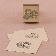 Burlap Chic Floral Rubber Stamp