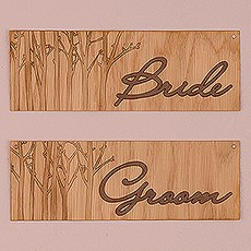 Wood Veneer Bride and Groom Chair Markers