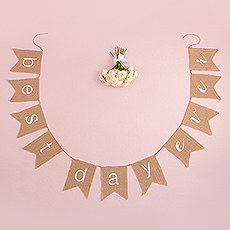 """Best Day Ever"" Natural Burlap Bunting"