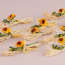 Yellow Sunflower Tied Mini Bouquet