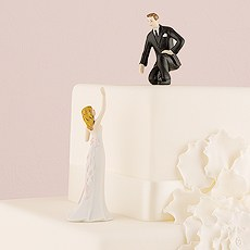 Reaching Bride and Helpful Groom Mix & Match Cake Toppers