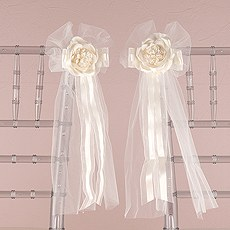 Pre-made Tulle & Ribbon Bows with Silk Rose
