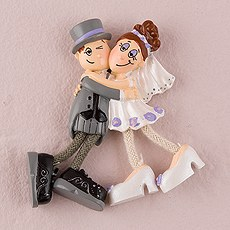 Bride and Groom Dangly Legs Fridge Magnet Favor