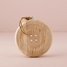 Charming Wooden Button Decoration with Natural Finish