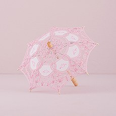 Vintage Pink Battenburg Lace Parasol - Small