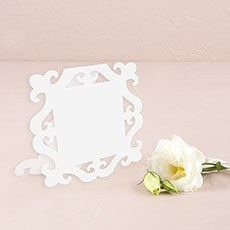 Laser Expressions Square Baroque Frame Folded Place Card - White