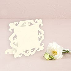 Laser Expressions Square Baroque Frame Folded Place Card - Ivory