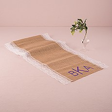 Burlap And Lace Table Runner - Geo Monogram Print