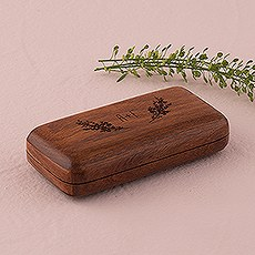 Natural Charm Personalized Pocket Size Wooden Wedding Ring Box - Garland Surrounding