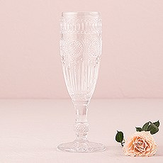 Vintage Style Pressed Glass Flute in Clear