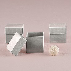 Lustrous Silver Favor Box with Lid