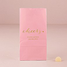 """cheers"" Block Bottom Gusset Paper Goodie Bags"