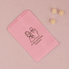 Stylized Bride and Groom Flat Paper Goodie Bag