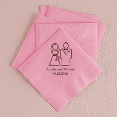Stylized Bride and Groom Printed Napkins