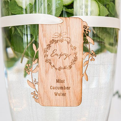 Personalized Drink Display Wood Veneer Tag