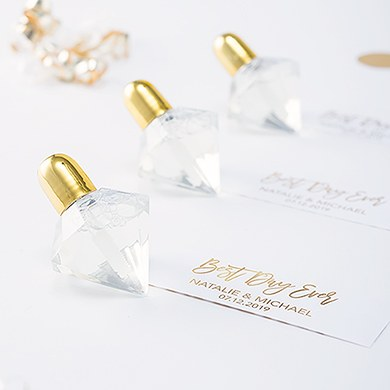 Diamond Shaped Wedding Bubbles - Metallic Gold