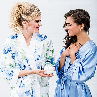 Silky Kimono Robe Periwinkle - Relaxed Fit