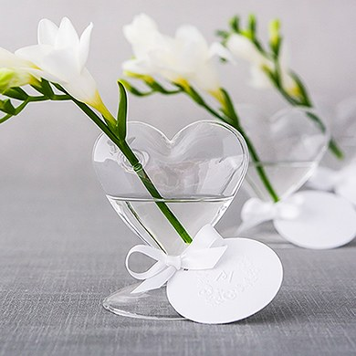 mini glass wedding reception heart vase accessories
