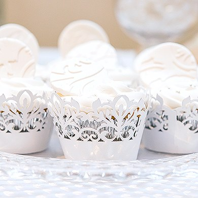 Classic Damask Filigree Paper Laser Cupcake Wrappers