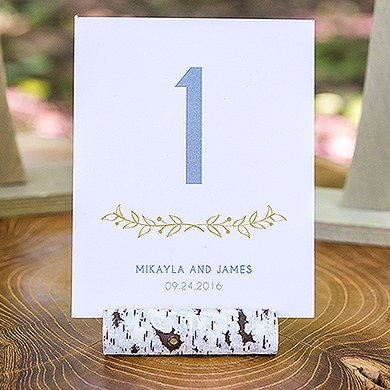 Faux Birch Log Wedding Stationery Card Holder