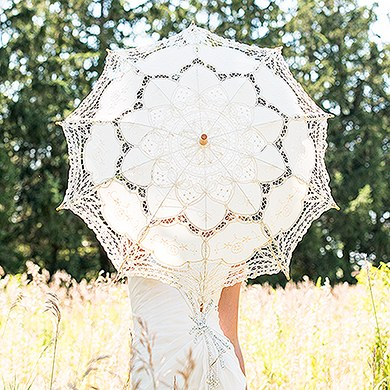 Antiqued Battenburg Lace Bridal Parasol