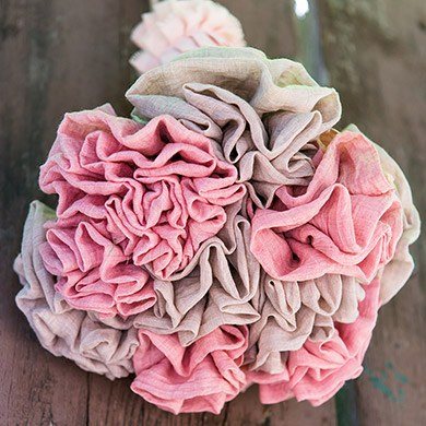 Vintage Pink Fabric Ruffle Flower on a Single Wire Stem - Medium