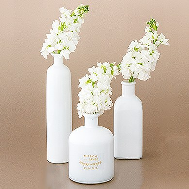 White Glass Bottle Décor Set