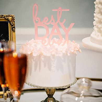 Best Day Ever Acrylic Cake Topper   Dark Pink
